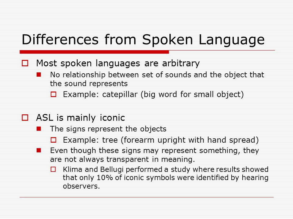 Differences from Spoken Language