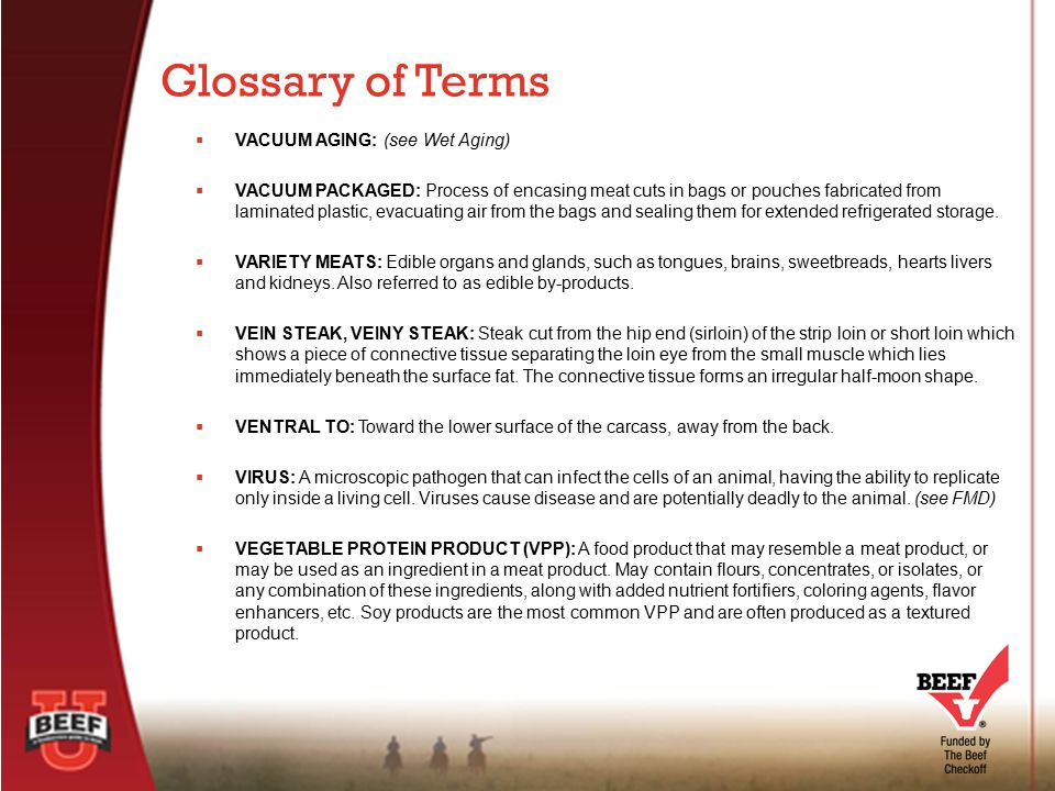 Glossary of Terms VACUUM AGING: (see Wet Aging)
