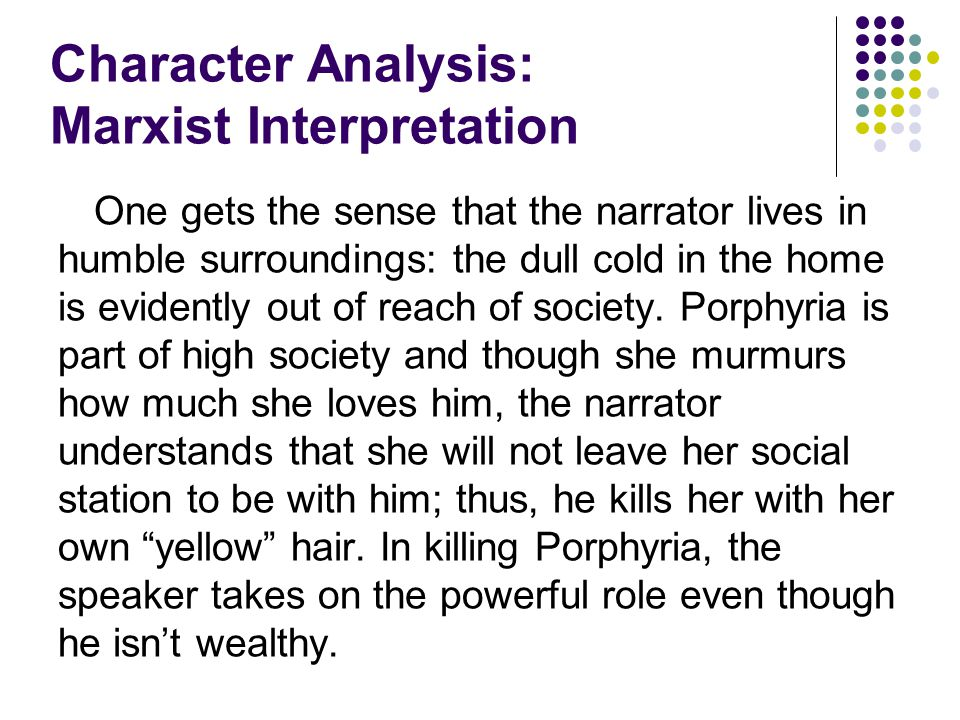 character analysis narrator the yellow The main characters are therefore those that are closest to her, herself, her  husband, her sister in law jennie and mary the nurse the nameless narrator  the.