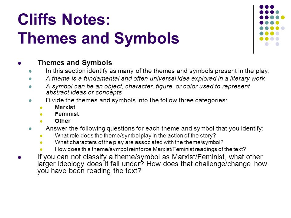 Cliffs Notes: Themes and Symbols