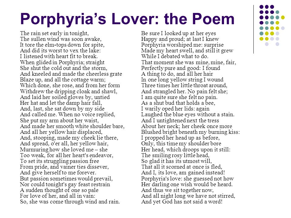 an examination of the poem porphyrias lover by robert browning A brief revision video and reading of porphyria's lover by robert browning for the aqa gcse poetry anthology.