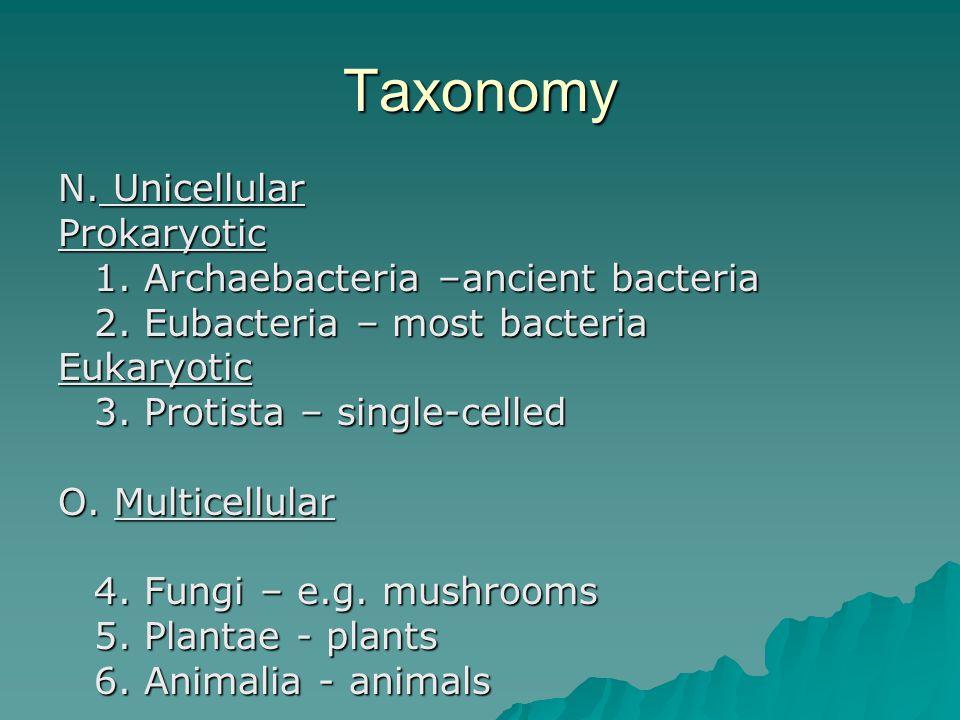 Taxonomy N. Unicellular Prokaryotic