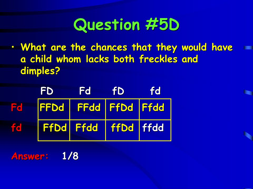 Question #5D What are the chances that they would have a child whom lacks both freckles and dimples