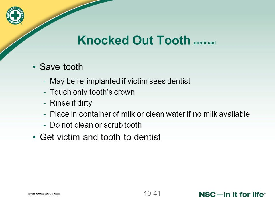 Knocked Out Tooth continued