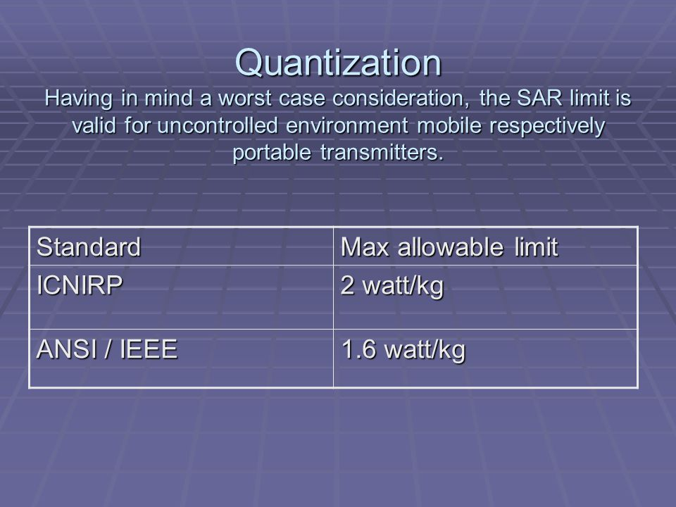 Quantization Having in mind a worst case consideration, the SAR limit is valid for uncontrolled environment mobile respectively portable transmitters.