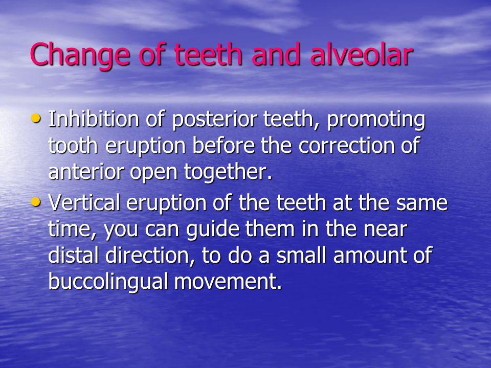Change of teeth and alveolar