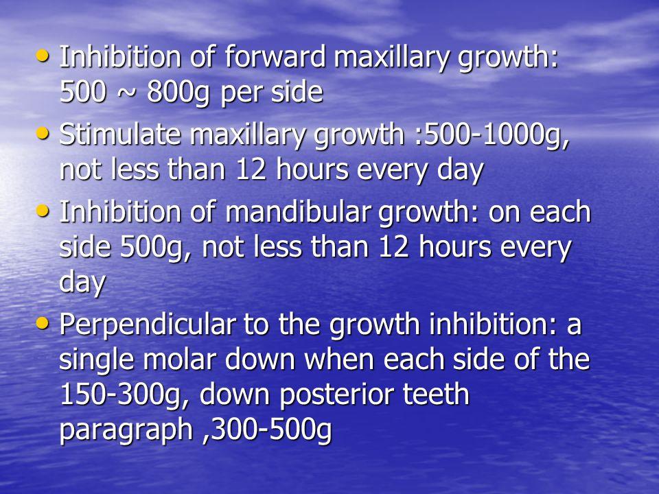 Inhibition of forward maxillary growth: 500 ~ 800g per side