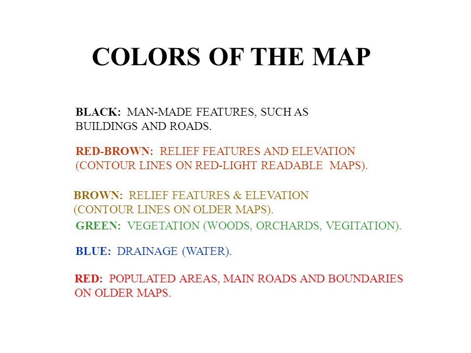 COLORS OF THE MAP BLACK: MAN-MADE FEATURES, SUCH AS