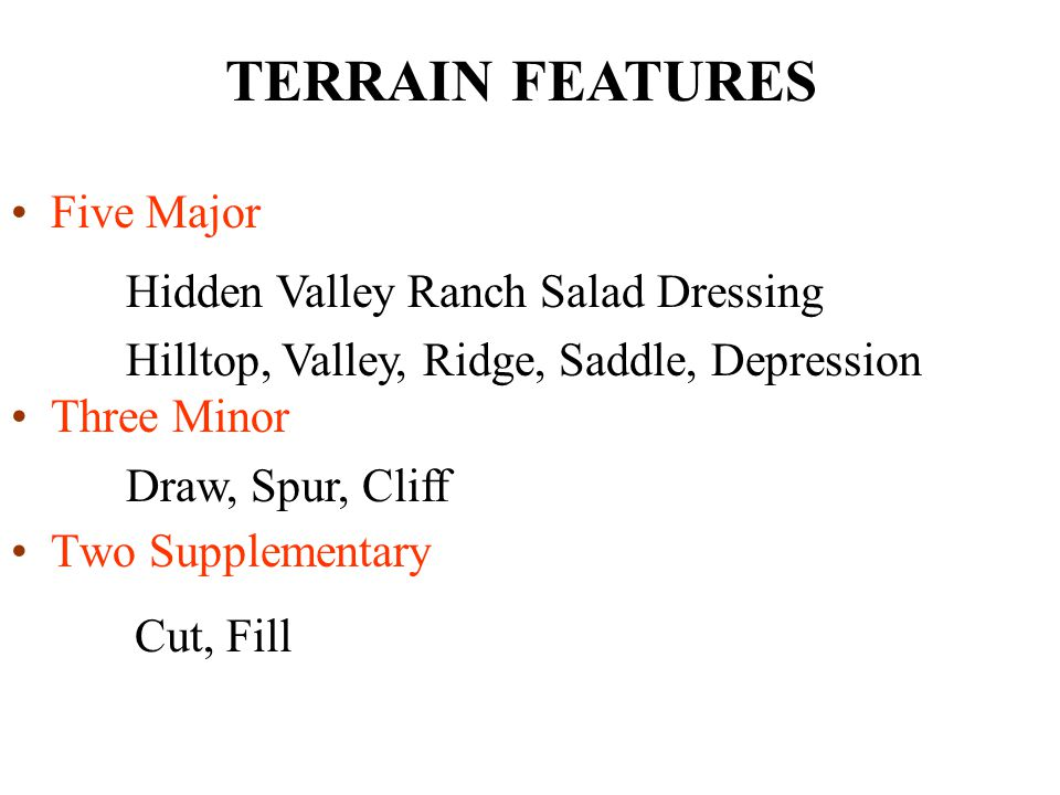 TERRAIN FEATURES Five Major Hidden Valley Ranch Salad Dressing