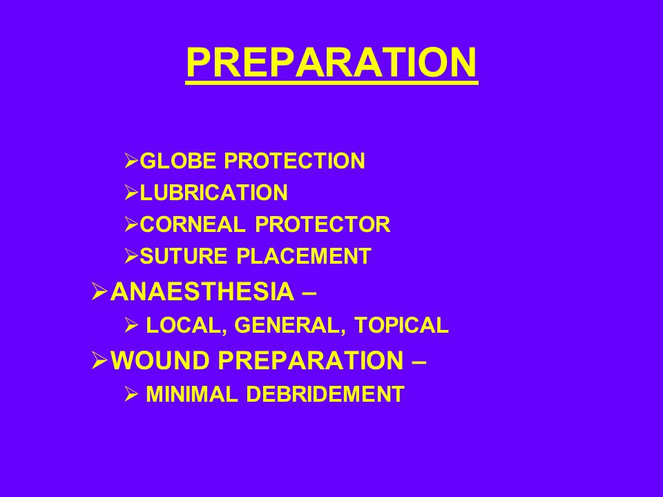 PREPARATION ANAESTHESIA – WOUND PREPARATION – GLOBE PROTECTION