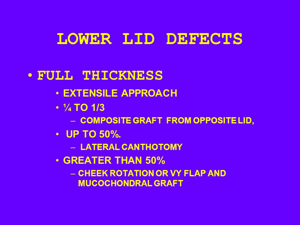 LOWER LID DEFECTS FULL THICKNESS EXTENSILE APPROACH ¼ TO 1/3