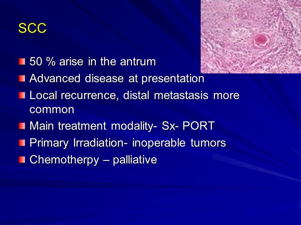 SCC 50 % arise in the antrum Advanced disease at presentation