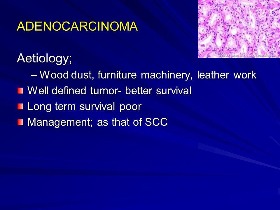 ADENOCARCINOMA Aetiology; Wood dust, furniture machinery, leather work