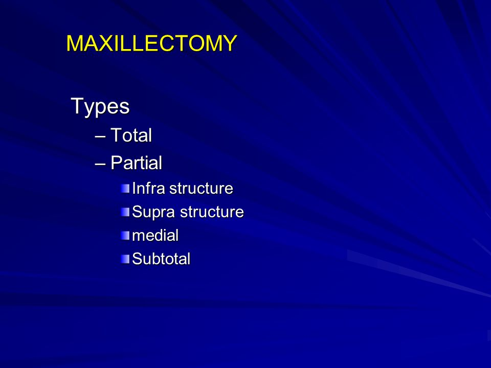 MAXILLECTOMY Types Total Partial Infra structure Supra structure