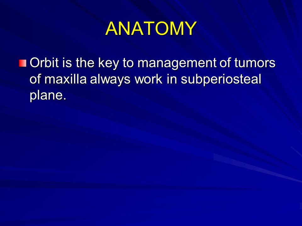 ANATOMY Orbit is the key to management of tumors of maxilla always work in subperiosteal plane.