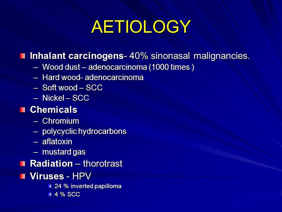 AETIOLOGY Inhalant carcinogens- 40% sinonasal malignancies. Chemicals