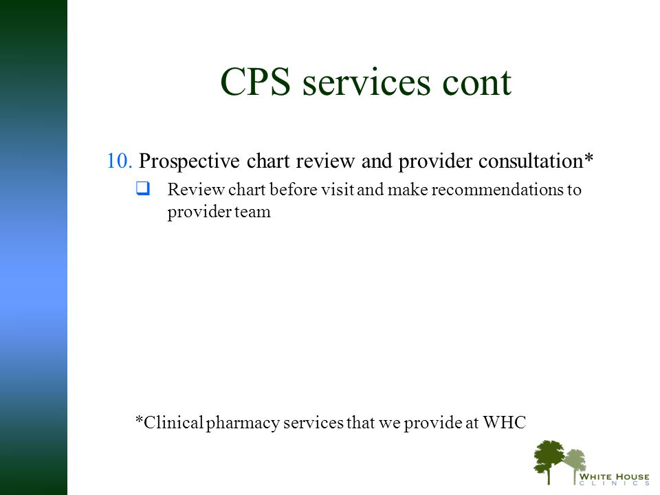 CPS services cont Prospective chart review and provider consultation*