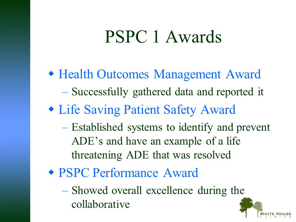 PSPC 1 Awards Health Outcomes Management Award