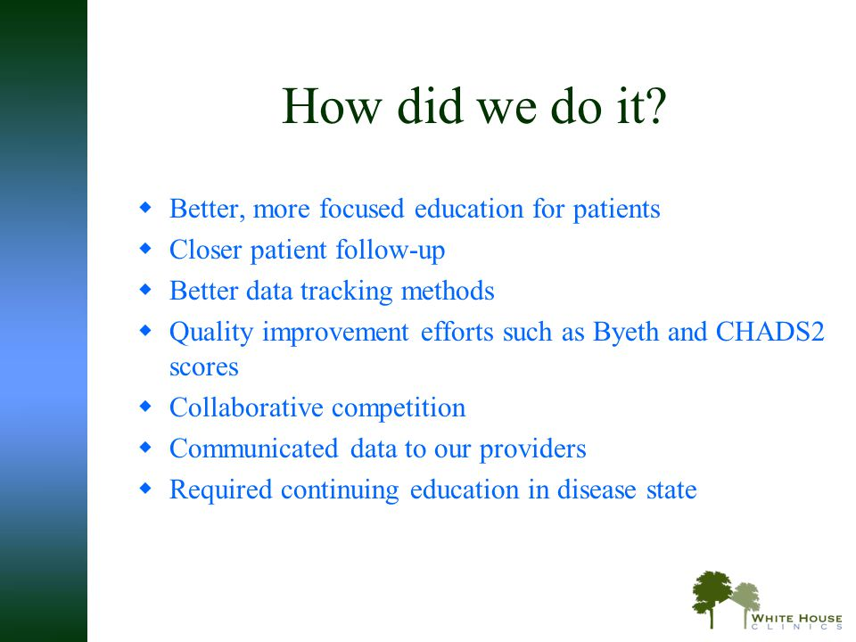 How did we do it Better, more focused education for patients