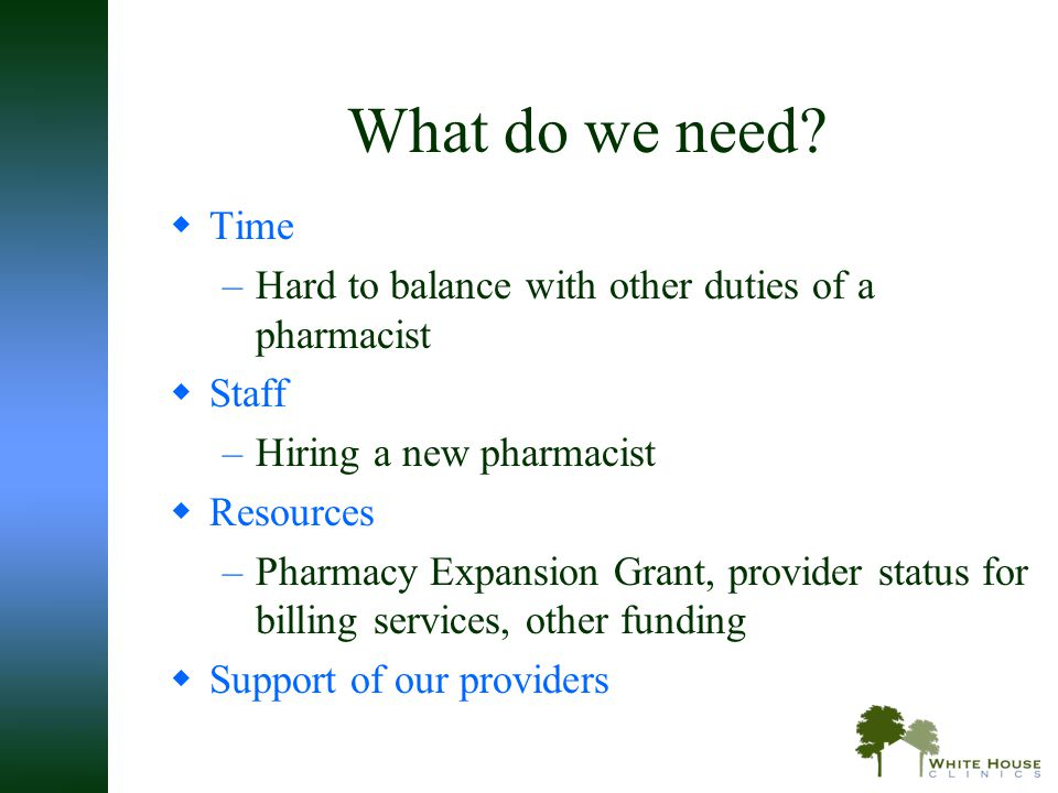 What do we need Time. Hard to balance with other duties of a pharmacist. Staff. Hiring a new pharmacist.