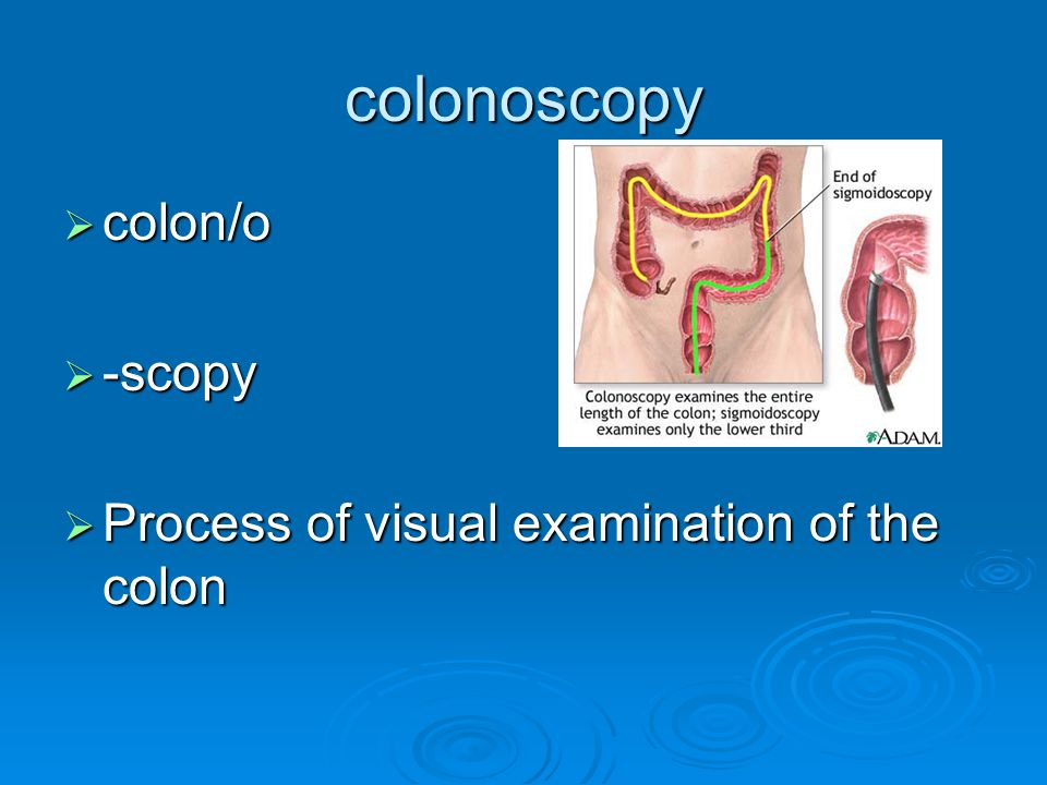 colonoscopy colon/o -scopy Process of visual examination of the colon