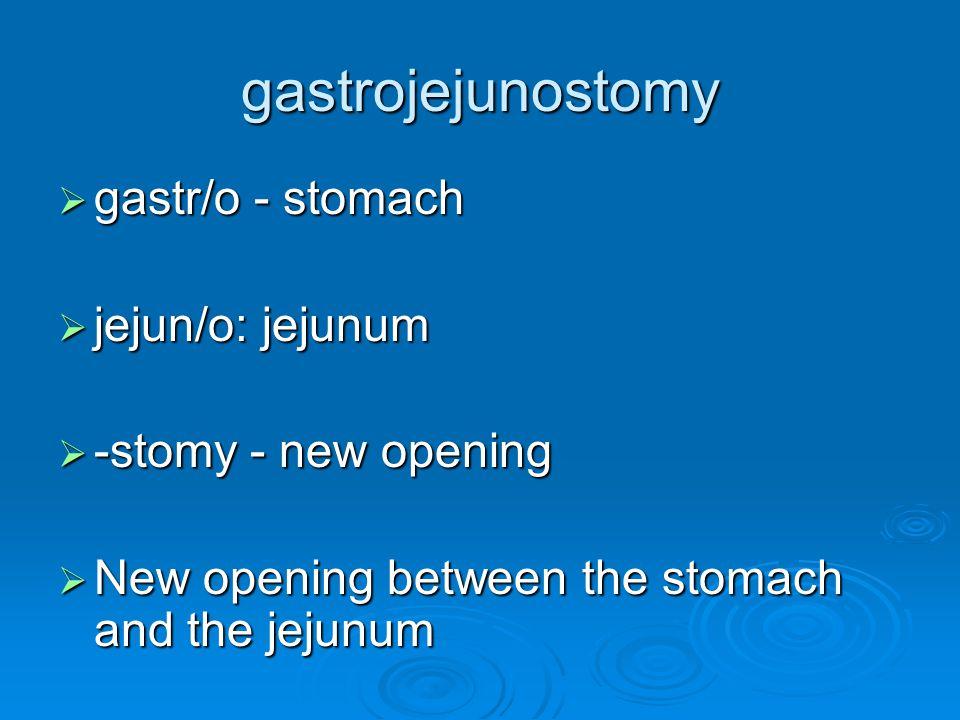 gastrojejunostomy gastr/o - stomach jejun/o: jejunum