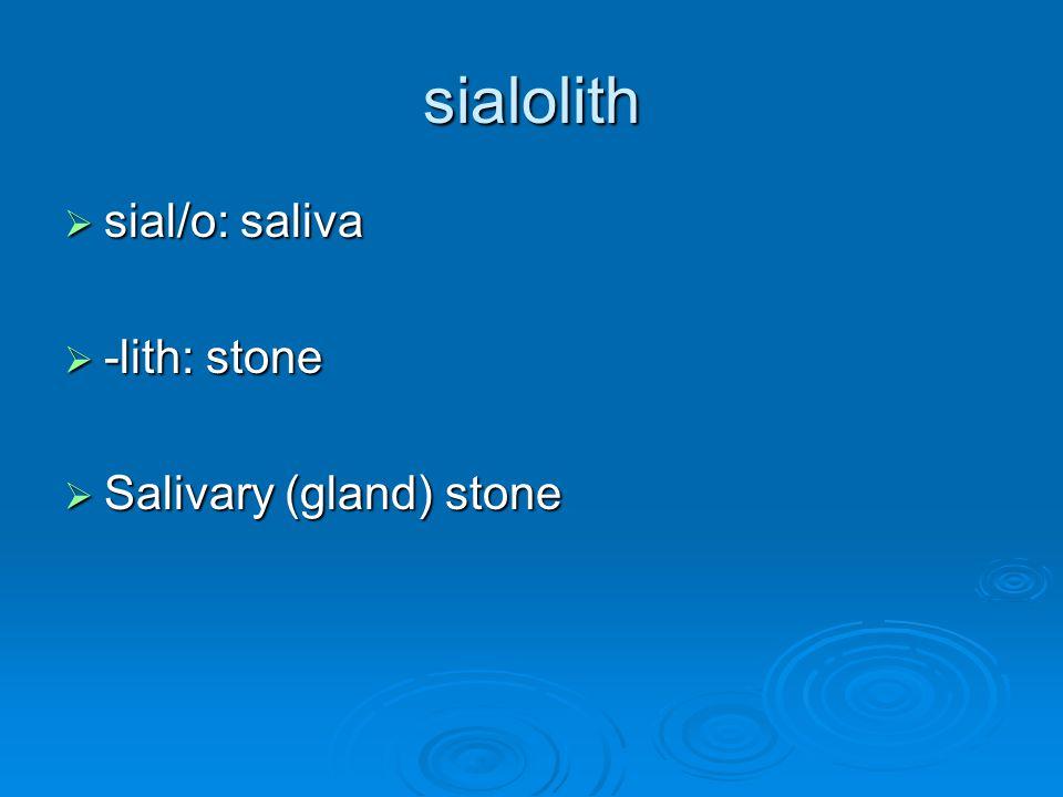 sialolith sial/o: saliva -lith: stone Salivary (gland) stone