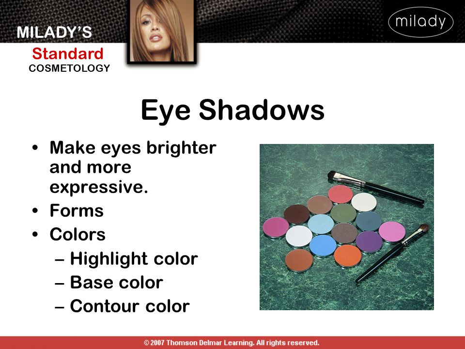 Eye Shadows Make eyes brighter and more expressive. Forms Colors