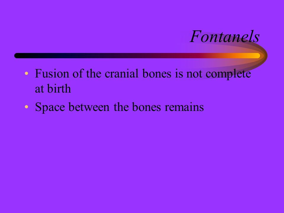 Fontanels Fusion of the cranial bones is not complete at birth