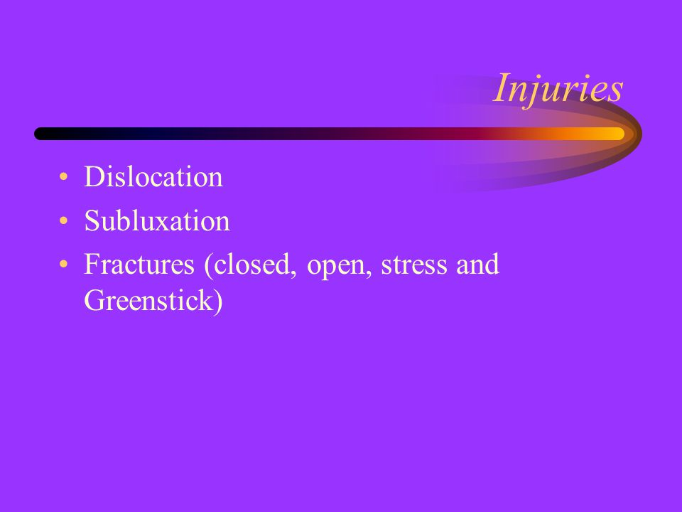 Injuries Dislocation Subluxation