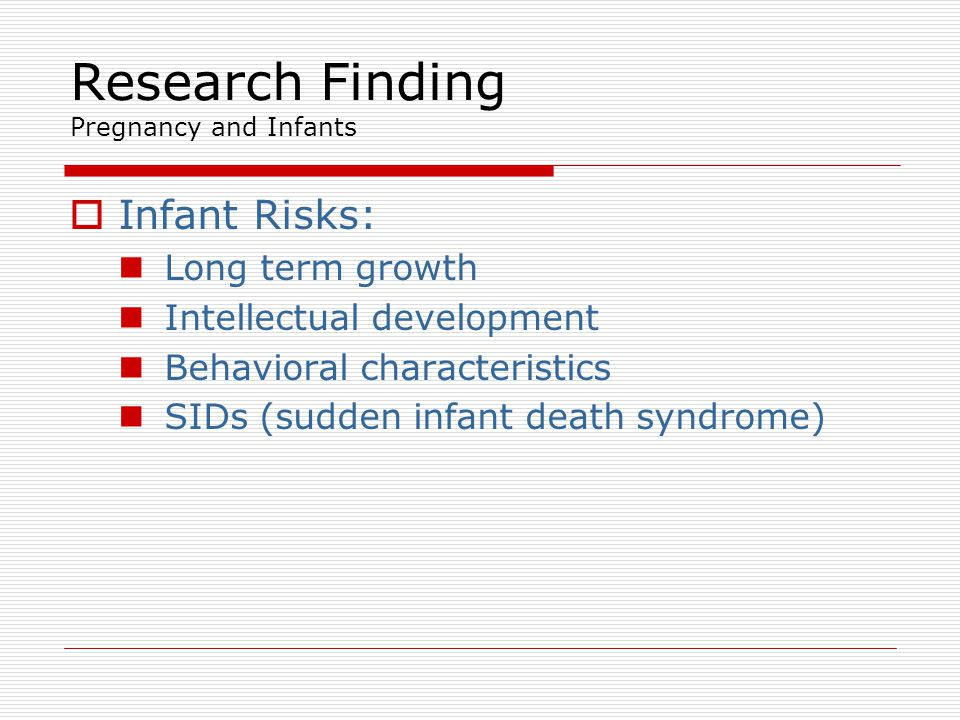 Research Finding Pregnancy and Infants