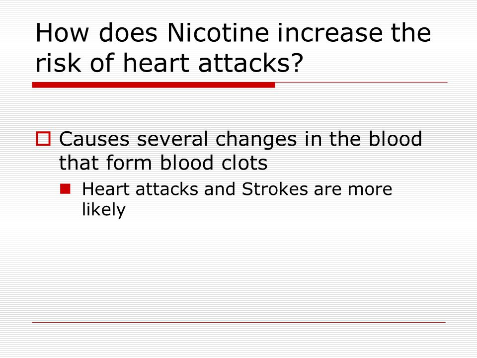 How does Nicotine increase the risk of heart attacks