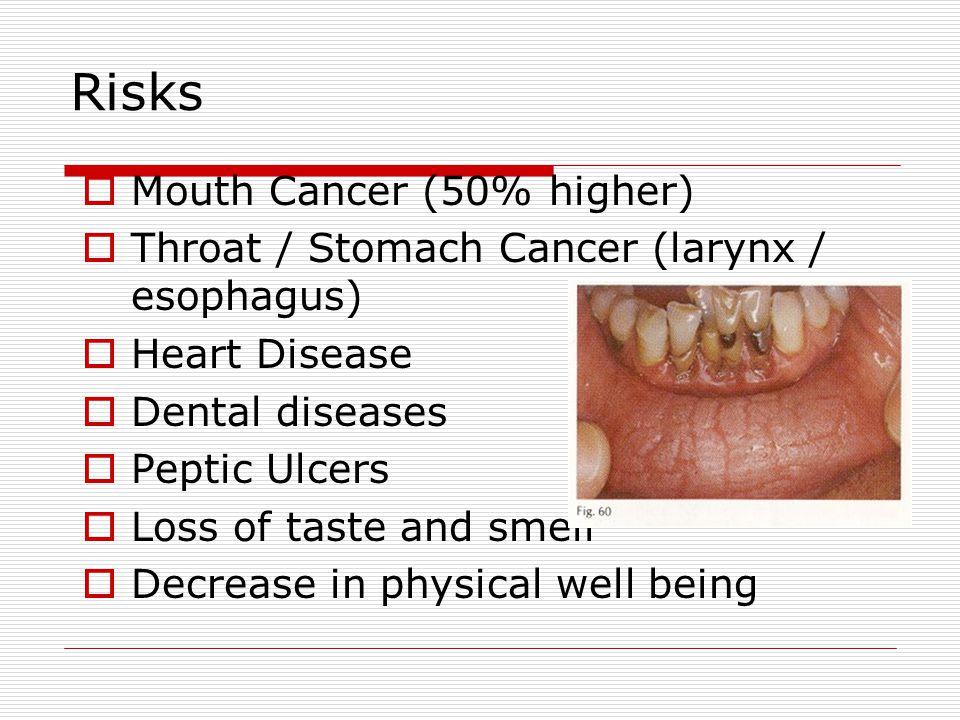 Risks Mouth Cancer (50% higher)
