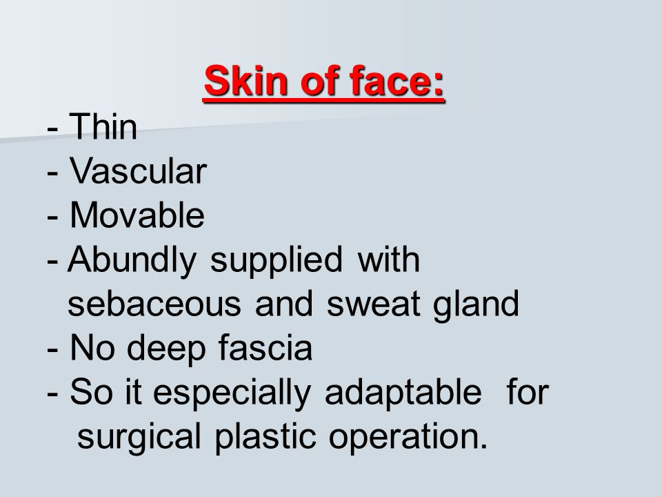 Skin of face: - Thin - Vascular - Movable