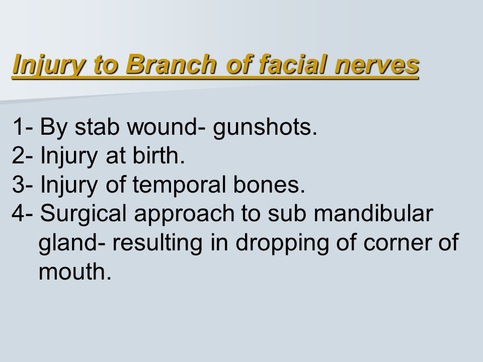 Injury to Branch of facial nerves