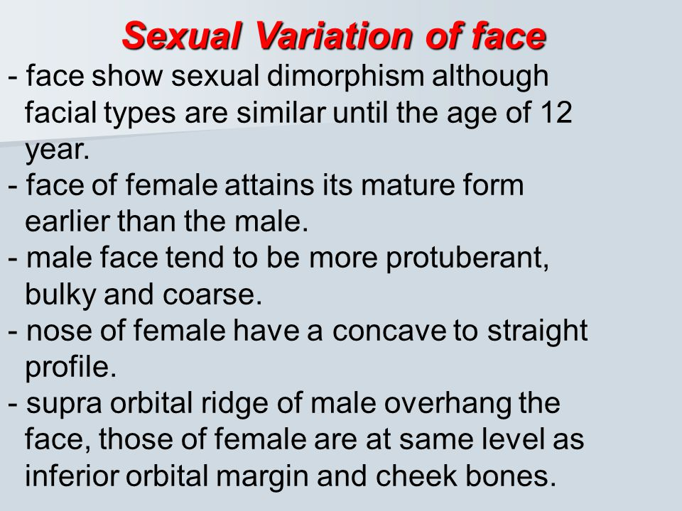Sexual Variation of face