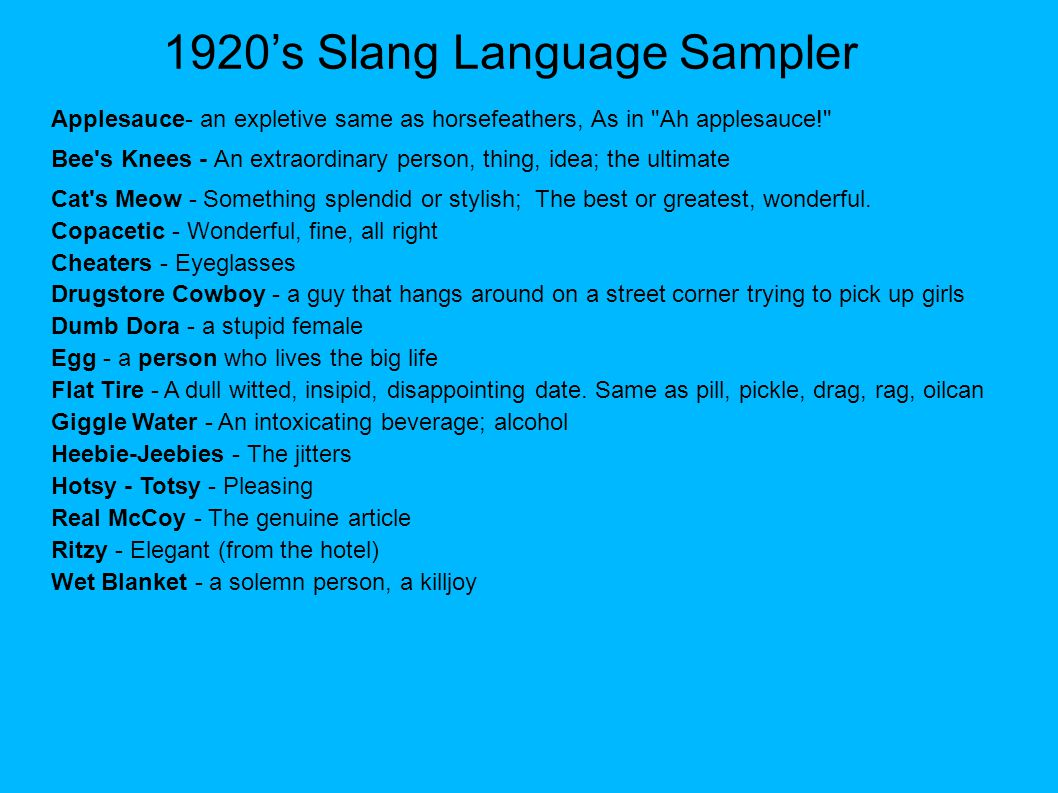 1920's Slang Language Sampler