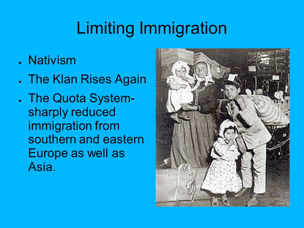 Limiting Immigration Nativism The Klan Rises Again