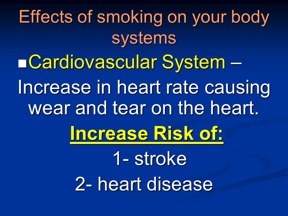 Effects of smoking on your body systems