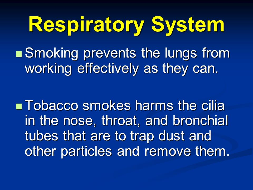 Respiratory System Smoking prevents the lungs from working effectively as they can.