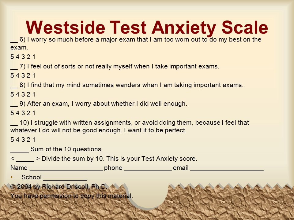 Westside Test Anxiety Scale