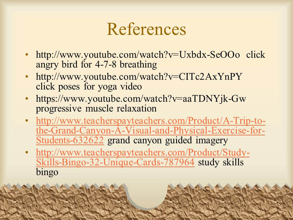 References http://www.youtube.com/watch v=Uxbdx-SeOOo click angry bird for 4-7-8 breathing.