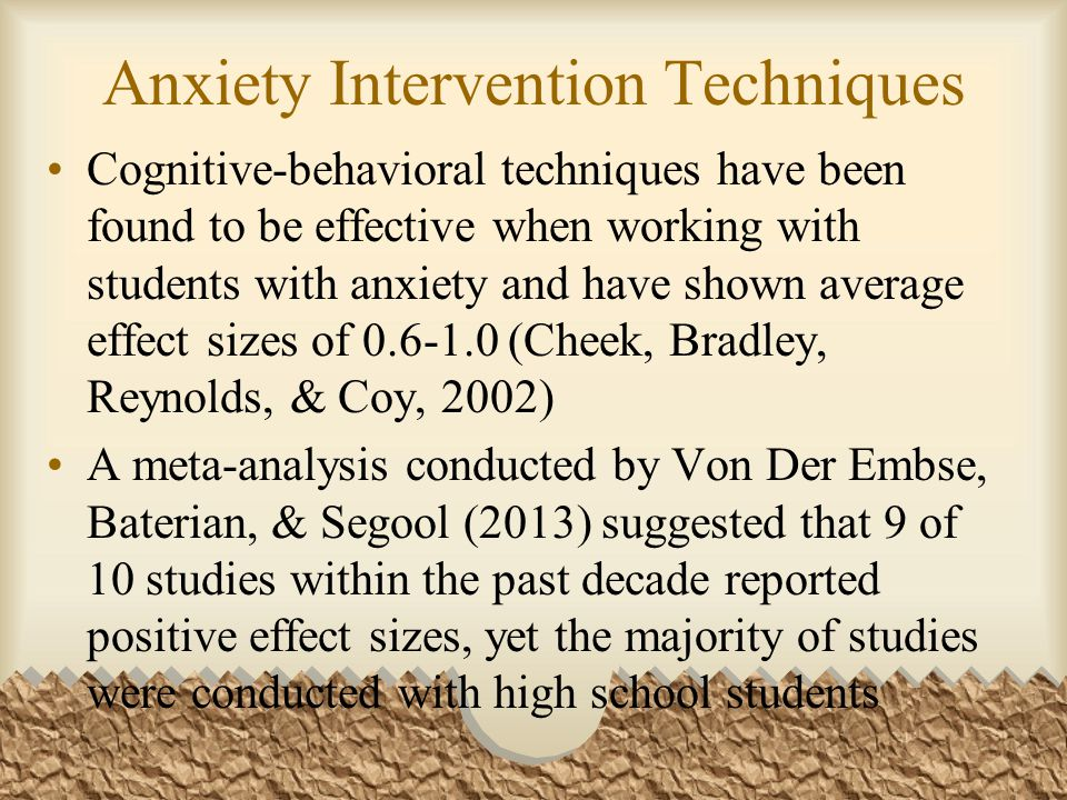 Anxiety Intervention Techniques