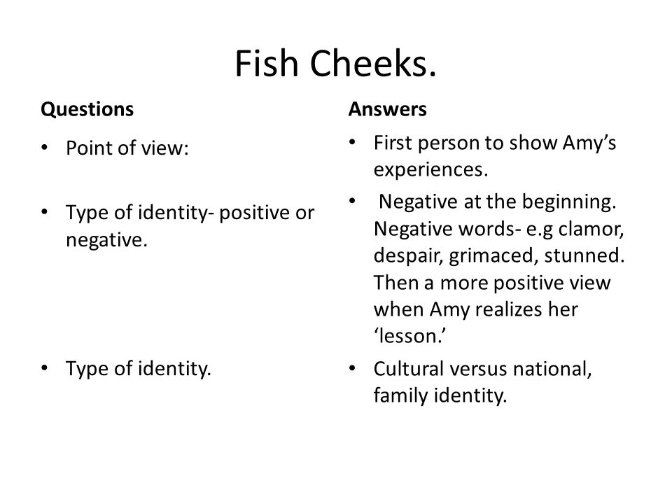Fish Cheeks. Questions Answers First person to show Amy's experiences.