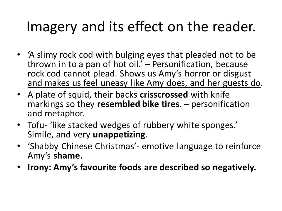 Imagery and its effect on the reader.