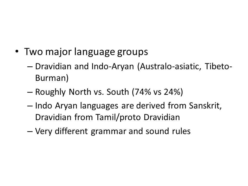 Two major language groups