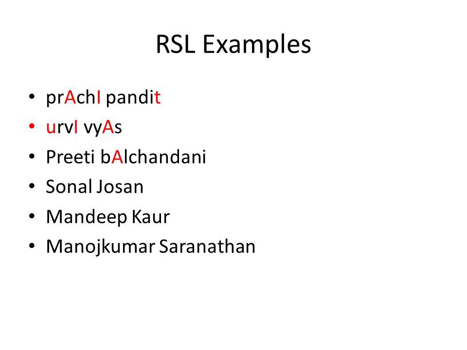 RSL Examples prAchI pandit urvI vyAs Preeti bAlchandani Sonal Josan