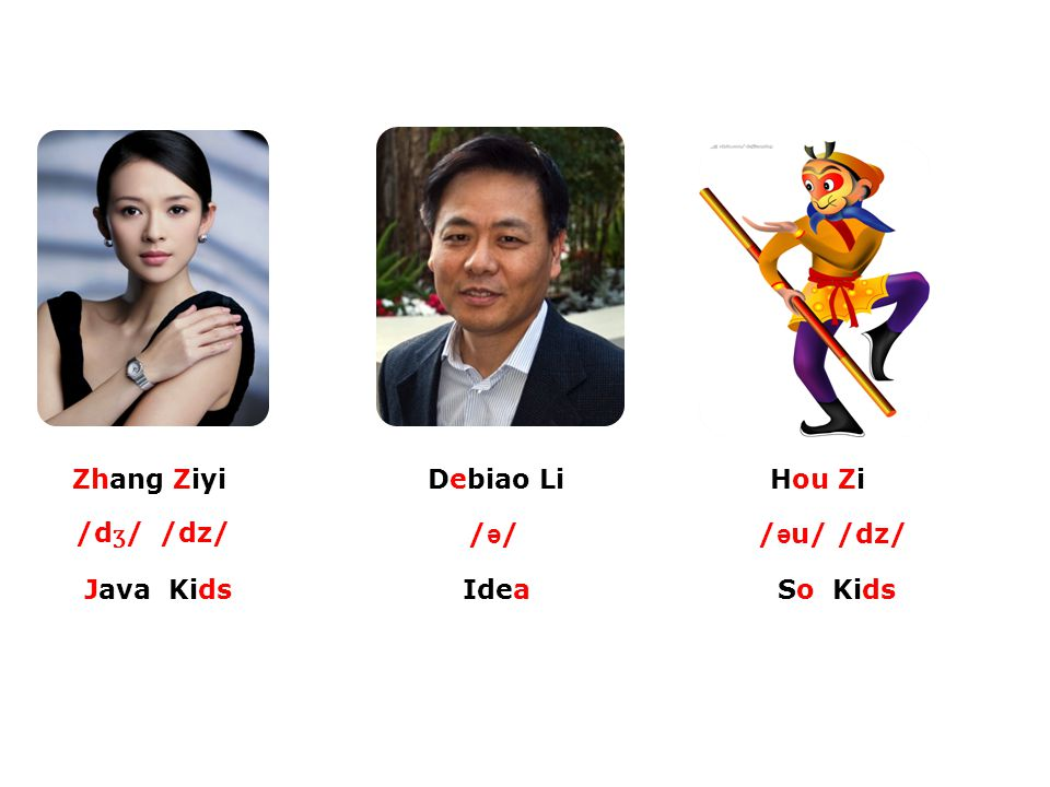 Zhang Ziyi Debiao Li Hou Zi /dʒ/ /dz/ /ə/ /əu/ /dz/ Java Kids Idea So Kids