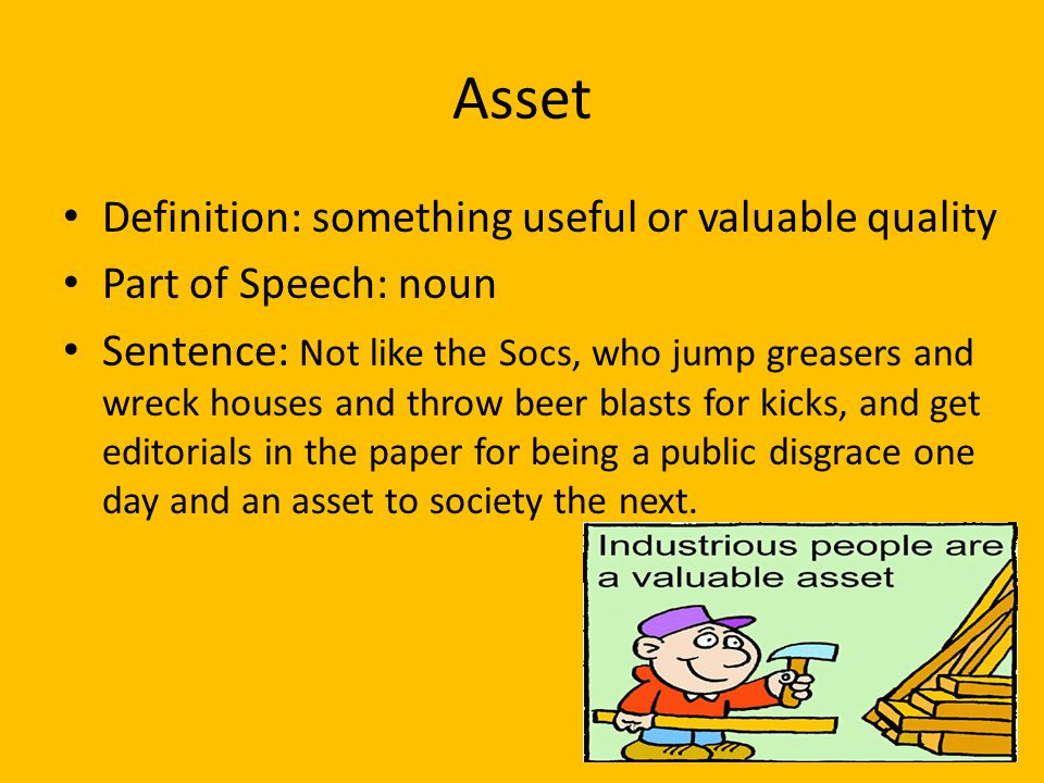 Asset Definition: something useful or valuable quality