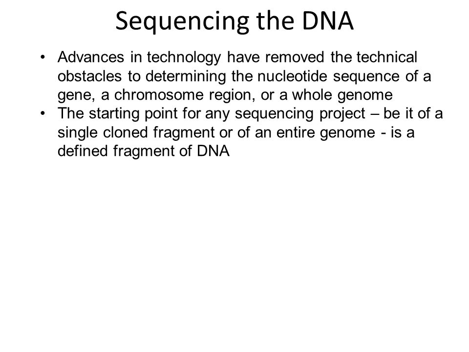 Sequencing the DNA